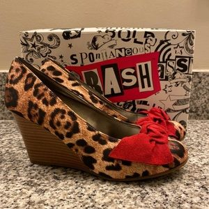 Brash Exotico Katy Leopard Wedges - 6.5